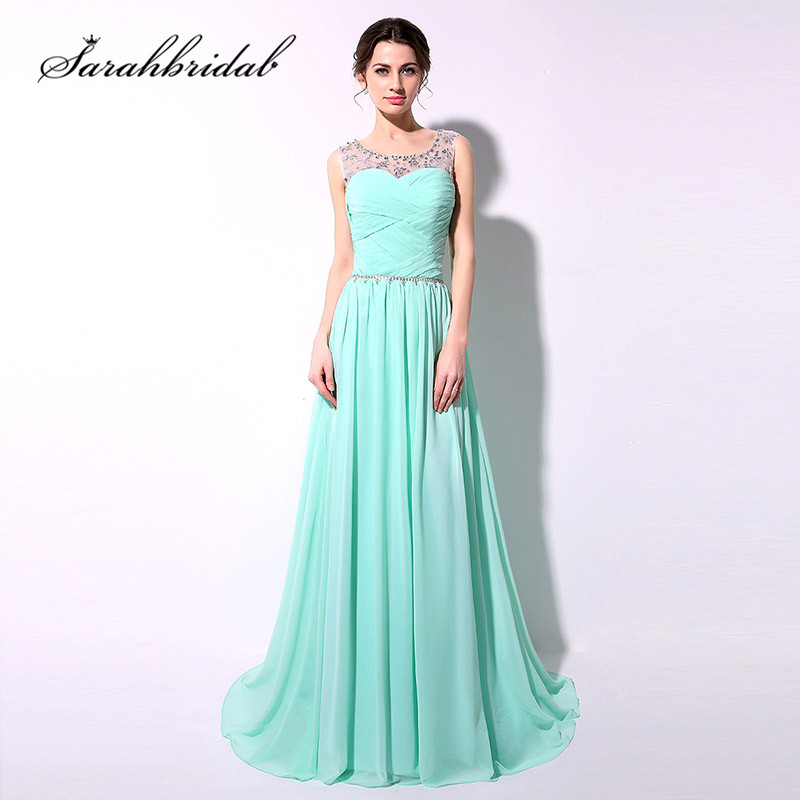 Mint Long   Evening     Dresses   Cheap In Stock Beaded Crystals Floor Length Chiffon Lace Up Back Sash Prom Party Gowns SD184