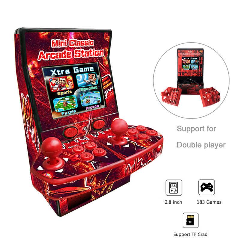 المحمولة الرجعية البسيطة الكلاسيكية الممرات وحدة تحكم بجهاز لعب محمول دعم الزوجي 2.8 بوصة LCD شاشة ملونة لعبة الممرات مدمج 183 ألعاب