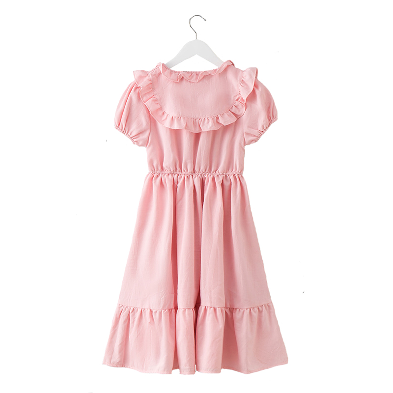 Summer 2018 Big Girls Dress Cotton Dresses Lace Puff Sleeve Princess Costume for Children Beach Style Party Clothing for 6y-14y acthink 2017 new girls formal solid lace dress shirt brand princess style long sleeve t shirts for girls children clothing mc029