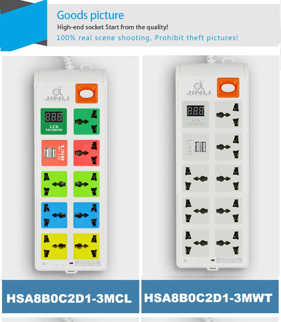 8 Outlet 2 Usb Charging Port Power Socket Strip Eu Uk Us Voltmeter Wiring Diagram System In 104 01 17