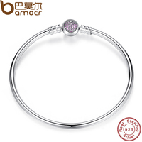 BAMOER Authentic 100 925 Sterling Silver Snake Chain Heart Bangle Bracelet Luxury Jewelry PAS904