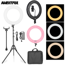"18"" 60W LED Ring Light Annular Lamp Bi color 3000K 6000K Ring Lamps with Light Stand for Video YouTube Ringlight Makeup Light"