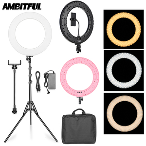 """Image 1 - 18"""" 60W LED Ring Light Annular Lamp Bi color 3000K 6000K Ring Lamps with Light Stand for Video YouTube Ringlight Makeup Light"""