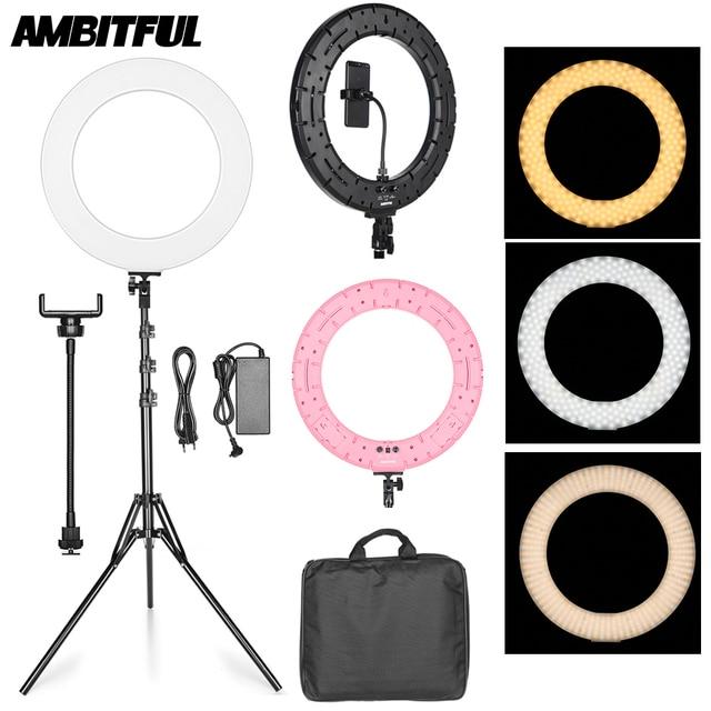 "18"" 60W LED Ring Light Annular Lamp Bi color 3000K 6000K Ring Lamps with Light Stand for Video YouTube Ringlight Makeup Light"