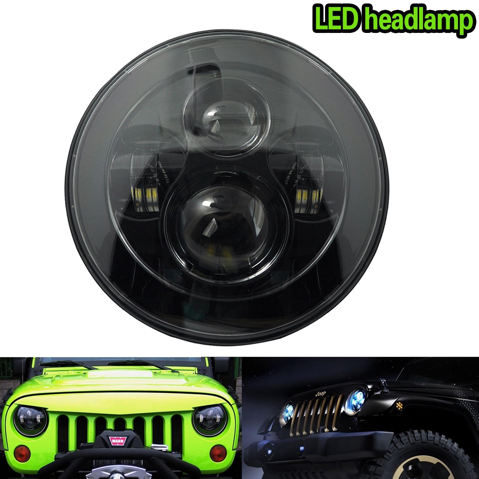 7inch Black Round Motorcycle Car LED Projector Headlight H4 DRL Hi/Lo Beam Headlamp Light Bulb for Jeep Wrangler JK CSL2017