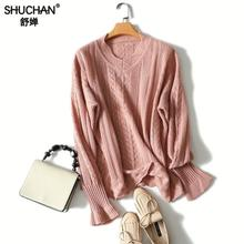 Shuchan Autumn New Women Sweater Casual Hollow Out Knitted Tops Long Sleeve O-neck Pullover 100% Cashmere