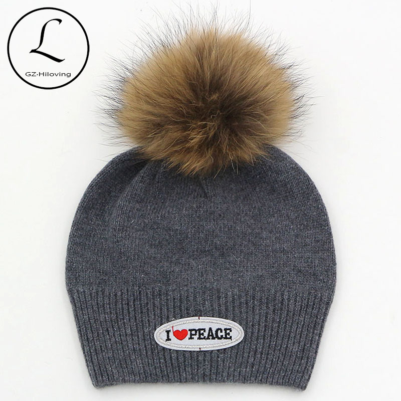 7 Colors Womens Wool Blend Knitted Winter Letter Beanie Hat Knit Skullies 100% Real Raccoon Fur Pompom Beanie Hats For Unisex unisex 1d one direction letter hats gorros bonnets winter cap skullies beanie female hihop knitted hat toucas with pompom ball