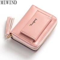 MIWIND Women Short Wallet Small Tassel Purse Female Zipper Coin Bag Soft Pu Leather Women Purse