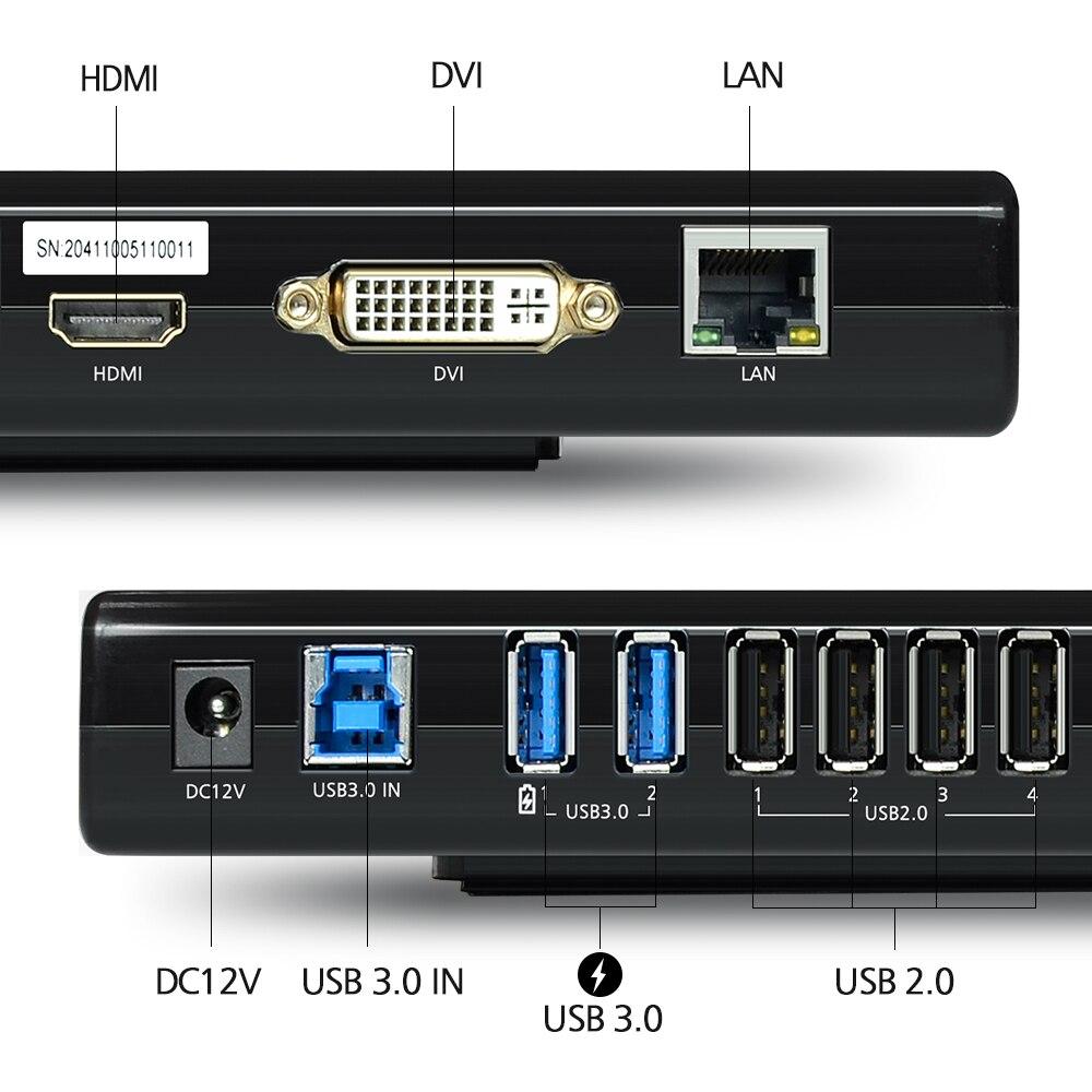 Wavlink 7 puertos USB 3,0/2,0 estación de acoplamiento Universal doble cabeza hasta 1080 P 2 K HD estación de acoplamiento para ordenador portátil para Mac OS Windows US/ - 3