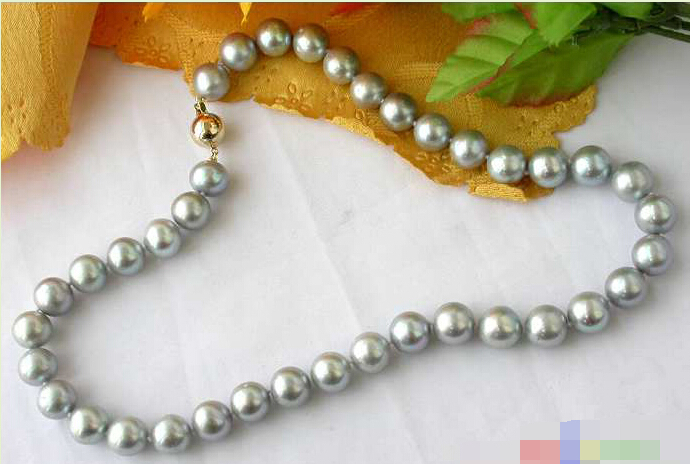 CB160   AAA+++ 17 12MM GRAY ROUND FW CULTURED PEARL NECKLACECB160   AAA+++ 17 12MM GRAY ROUND FW CULTURED PEARL NECKLACE