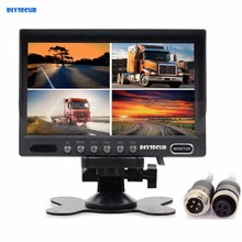 DIYSECUR 4PIN DC12V-24V 7Inch 4 Split Quad Screen Display Color Rear View Video Security Monitor for Car Truck Bus CCTV Camera