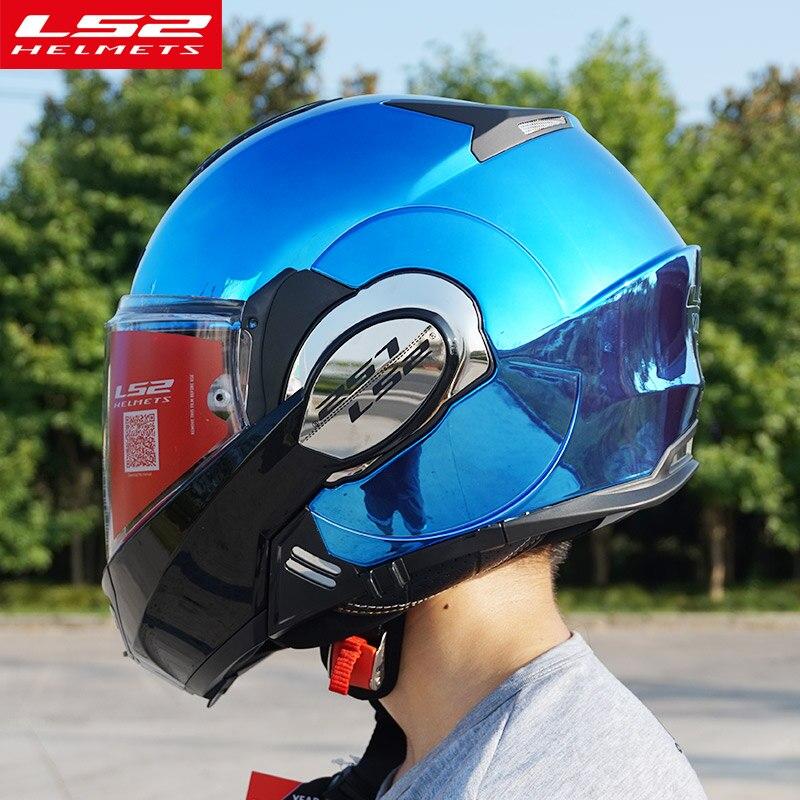 Новое поступление LS2 FF399 флип мотоциклетные шлемы chrome двойной линзы мотоцикл один моно конвертируемая модульные шлемы с Pinlock