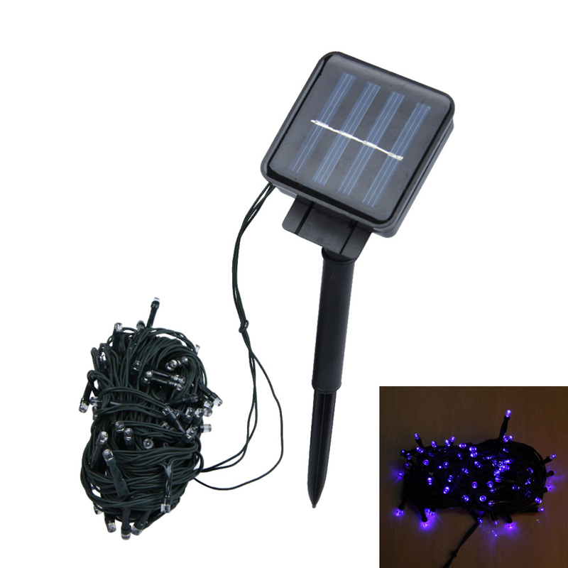 cu3 12m 100 led solar christmas string light wedding party garden lamp blue christmas tree - Cheap Christmas Trees Online
