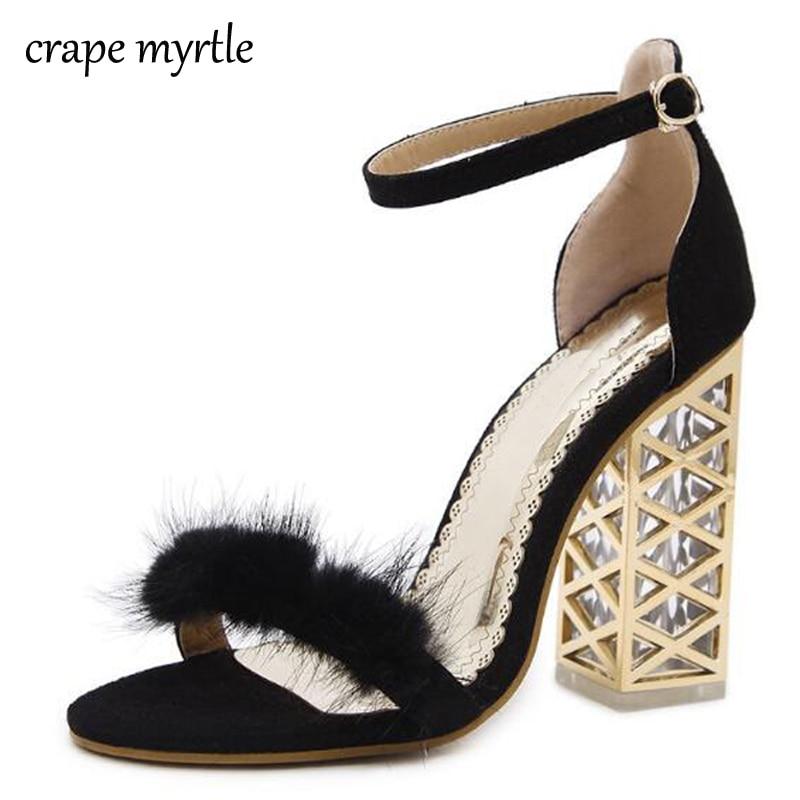 91211053f54d sandalias mujer women heels ladies Sandals Summer Shoes peep Toe Chunky  High Heels wedding shoes transparent Sandals YMA188-in High Heels from Shoes  on ...
