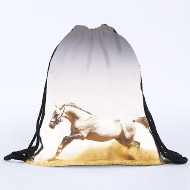 Nuevo Unisex 3D estampado caballo Patten bolsas con cordón mochila adolescentes niñas viaje bolso de hombro Mochilas Envío Directo