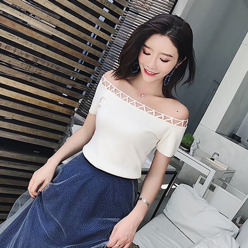 Summer <font><b>Women</b></font>\'s <font><b>Off</b></font> <font><b>Shoulder</b></font> <font><b>Top</b></font> <font><b>Fashion</b></font> Slash Neck Solid <font><b>Short</b></font> <font><b>Sleeve</b></font> Knitted <font><b>Sexy</b></font> Pullover T-Shirt Hot Selling image