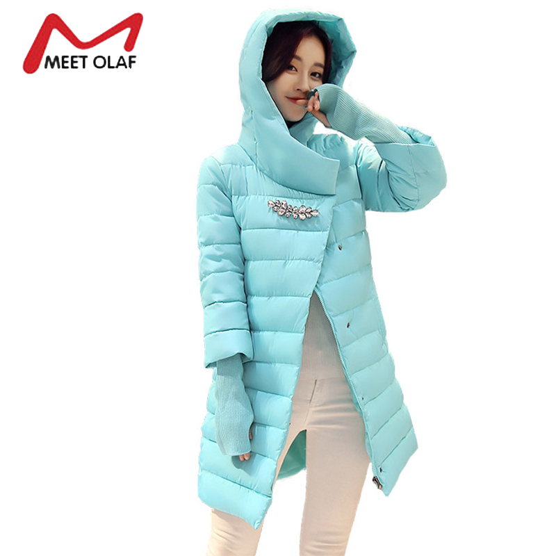 2017 New Hooded Winter Jackets Women Winter Coats With Gloves Female Cotton Padded Parkas Ladies Overcoat abrigos mujer Y1630 2017 new winter coats women winter short parkas female autumn cotton padded jackets wadded outwear abrigos mujer invierno w1492
