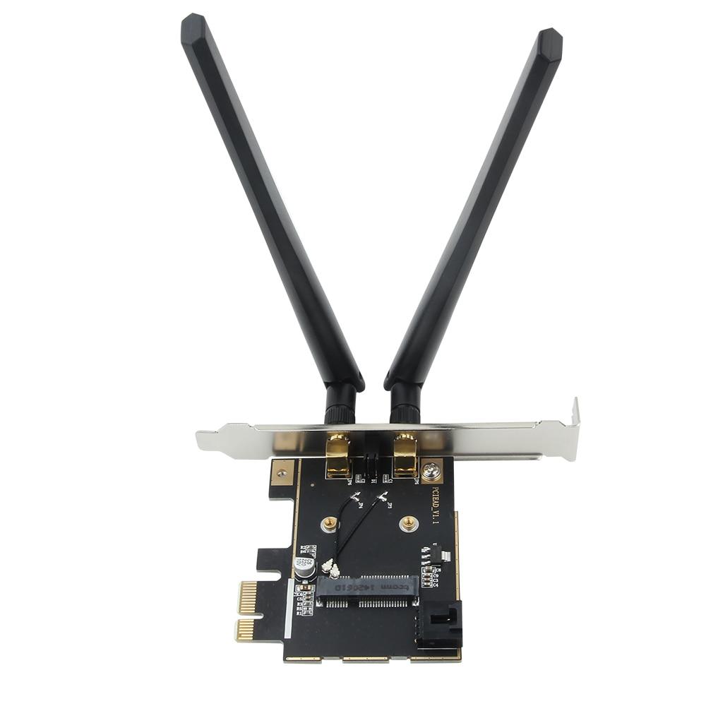 Fenvi Wireless Network Mini PCI-E Card To Desktop PCI-E Adapter Converter + PCI-E Low Profile For Intel Broadcom Half Size Card