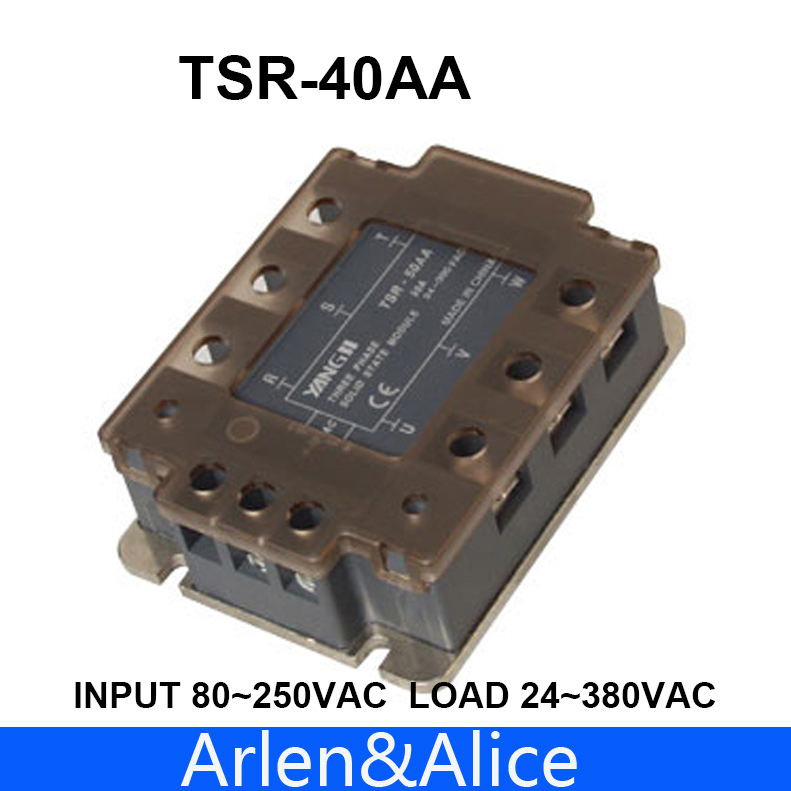 40AA TSR-40AA Three-phase SSR input 80~250VAC load 24-380VAC single phase AC solid state relay normally open single phase solid state relay ssr mgr 1 d48120 120a control dc ac 24 480v