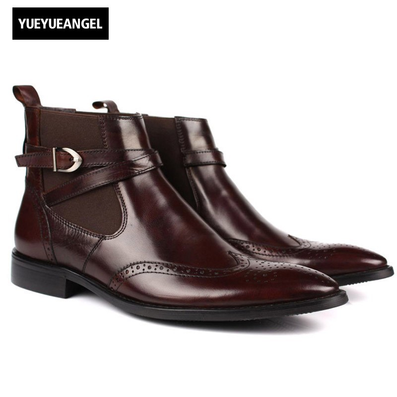 Mens Chelsea Boots With Buckle Genuine Leather Brogue Business Casual Shoes Office Wedding Dress Shoes Pointed Toe Ankle Botas red men wedding dress shoes pointed toe ankle boots genuine leather botas hombre cowboy military boots metal decor men flats