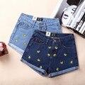 Лето мода банан вышитые джинсовые шорты керлинг джинсы женщин мода новый женский