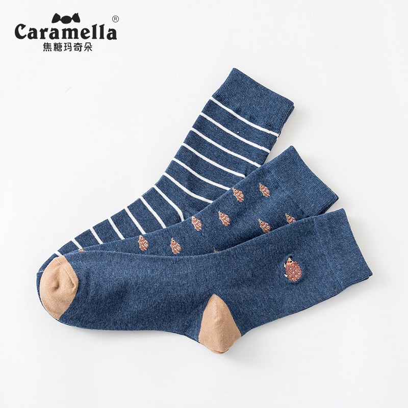 Caramella Men's Crew Socks Cotton Made Animal Jacquard Embroidery Socks Cotton 3 Pairs/Lot