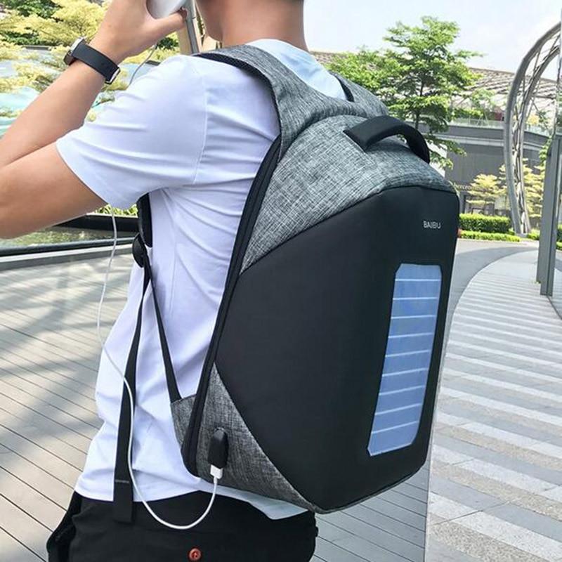 2018 Dos Hommes Charge Solaire Portable Voyage ''ordinateur Sac Épaule 15 De rouge Anti W bleu Designer Beige noir Sacs À 10 6 Usb vol rwrv0xI