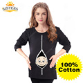 100% Cotton Pregnant Long Sleeve T Shirts Casual Pregnancy Women Maternity Clothes With Baby Peeking Out Funny Maternity Shirts