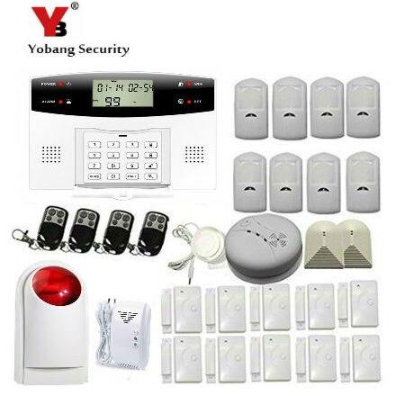YoBang Security Russian Spanish Ltalian Sound GSM Automatic Dialing Office Burglar Alarm System Smoke Fire Sensor+PIR Sensor