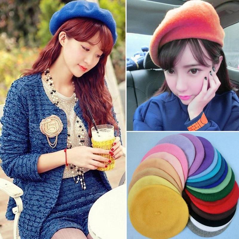 Kind-Hearted Autumn Winter Women Caps Beret Hat Boina Feminina Solid Color Simulated Wool Hats Female Bonnet Caps Winter Warm Walking Hat Cap