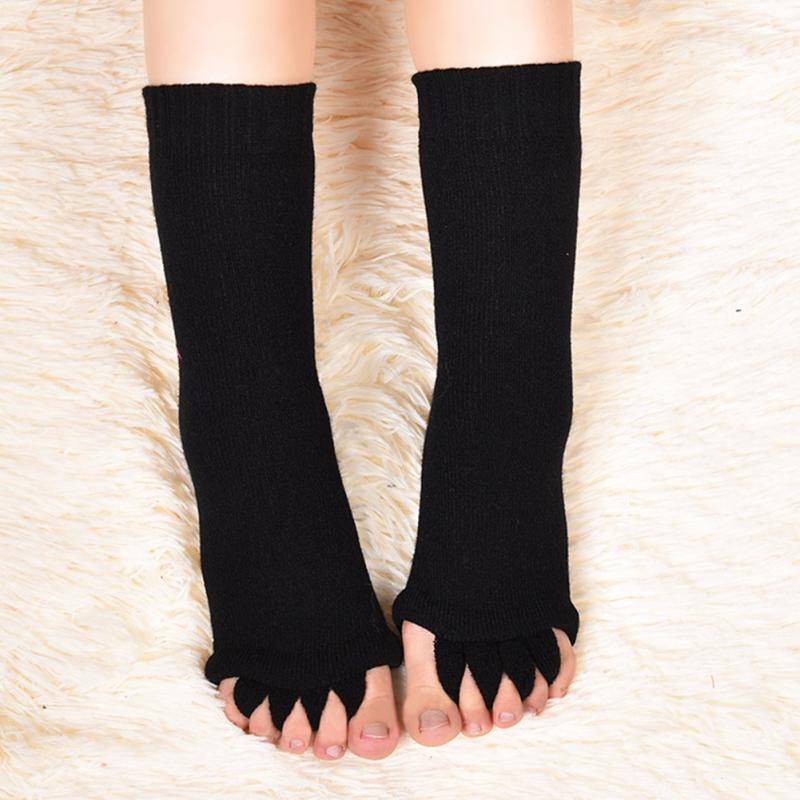 Black Massage Five Toe Separator Open Socks Foot Alignment Pain Relief breathable solid Socks