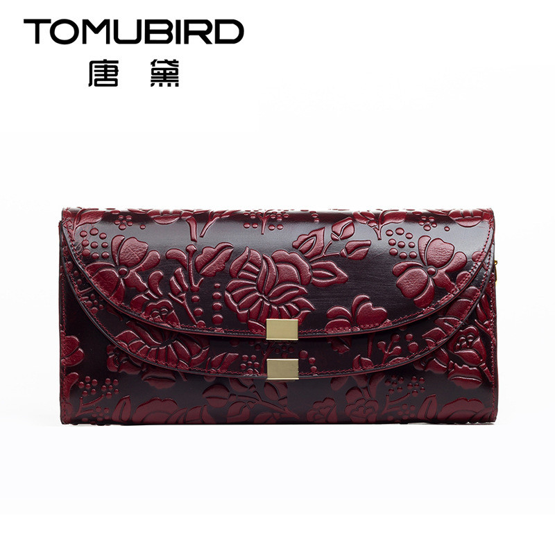 TOMUBIRD Fashion ladies leather wallets long embossing design purse women Genuine leather notecase Card Holders Clutch Money Bag top brand genuine leather wallets for men women large capacity zipper clutch purses cell phone passport card holders notecase