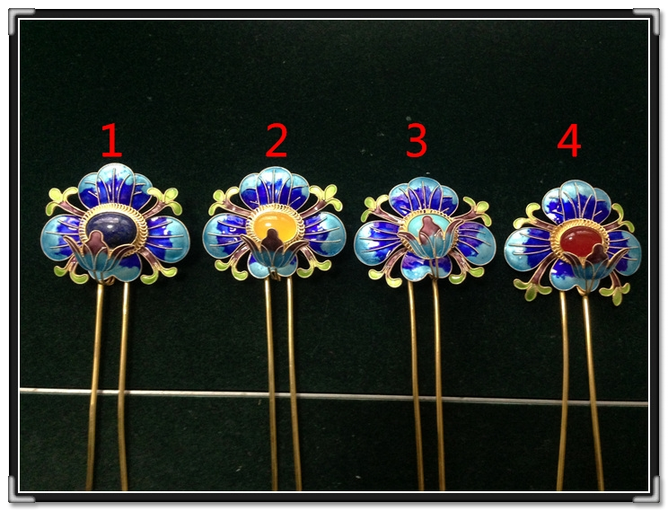 999 Fine Silver Gold Plated Cloisonne Hair Stick Pure Handmade Antique Pinach Artwork Miao Minority Group Hair Accessories
