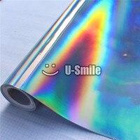 Премиум Радужный лазер хром серебро винил обёрточная бумага Голографическая калейдоскоп плёнки пузырьков автомобиля Стикеры