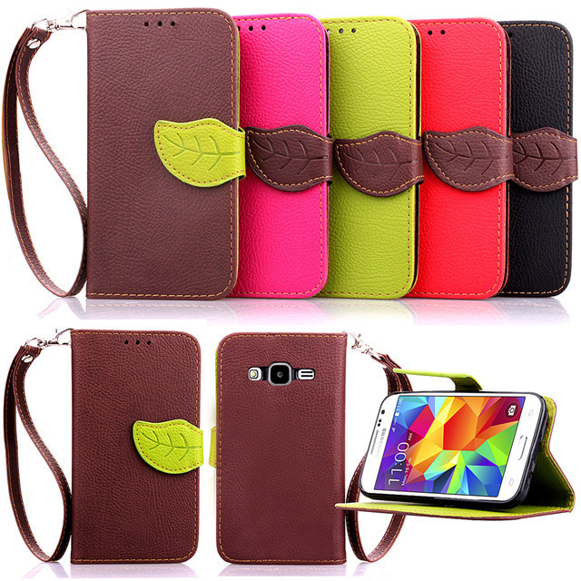 Leaf Style luxury Leather Flip Phone Cover Case For Samsung Galaxy Core Prime LTE SM-G3606 G360 G3606 G3608 G3609+Lanyard