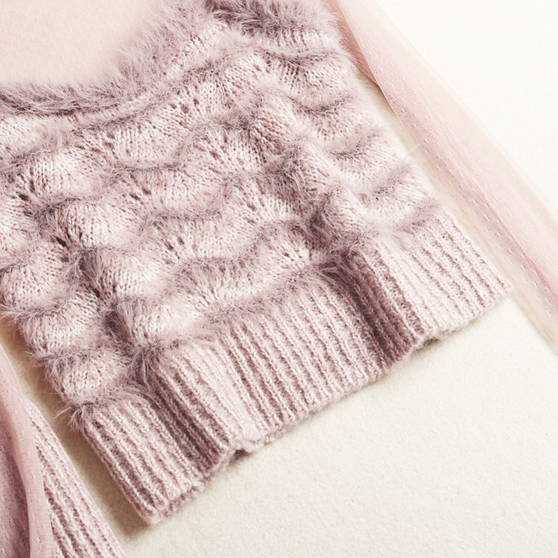 Élastique De Lolita Conjunto Pull Feminino Rose Jupes Shuchan Style Pink Mode Costume Une Avec Patchwork Femmes Taille Maille Jupe nEcPz