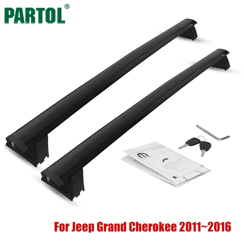 Partol Car Roof Rack Cross Bars Crossbars Aluminum 68 kg/150LBS Cargo Luggage Carrier Top for Jeep Grand Cherokee 2011-2016 partol car roof top cross bars roof rack cross bars rail carrier 150lbs aircraft aluminum for mazda cx 7 2007 2008 2009 2010 12