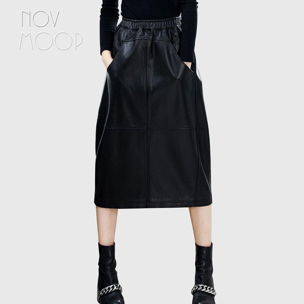 2018 hiver automne noir en cuir véritable agneau ruché élastique A-ligne lanterne jupe grandes poches faldas mujer etek jupe LT2584