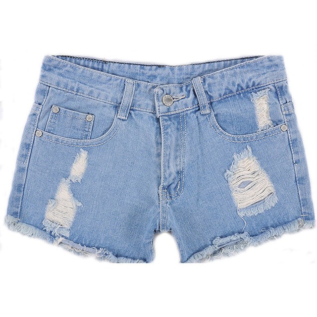 Fashion women Korean summer denim shorts sexy punk rivet hole mini jeans shorts soft bottom plus size female blue shorts A160