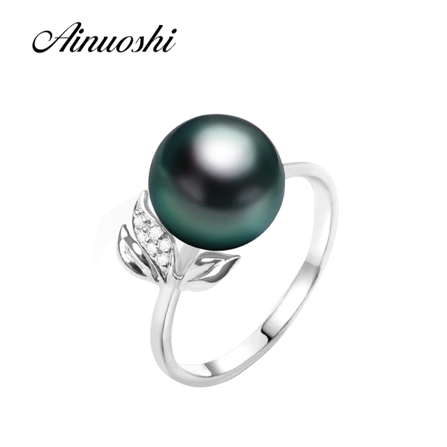 AINUOSHI Black Cultured Pearl Tahiti Elegant Lady Fashion Sterling Silver Leaf Ring 10mm Round Pearl Ring Engagement Jewelry