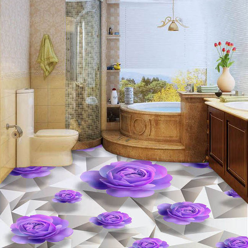 Custom 3d floor wallpaper purple rose living room bedroom for Bathroom mural wallpaper