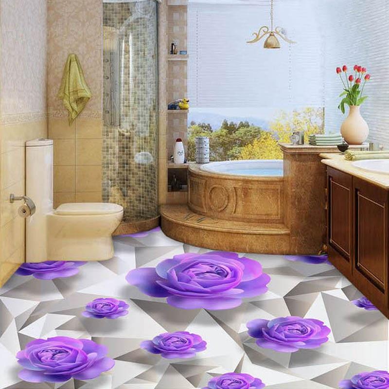 Custom 3D Floor Wallpaper Purple Rose Living Room Bedroom Bathroom Floor Mural Paintings PVC Self-adhesive Wallpaper Waterproof