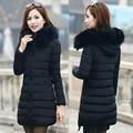 2016 зима новый женщин Тонкий был тонкий слой длинные волосы пуховик толстый хлопок пуховик D78