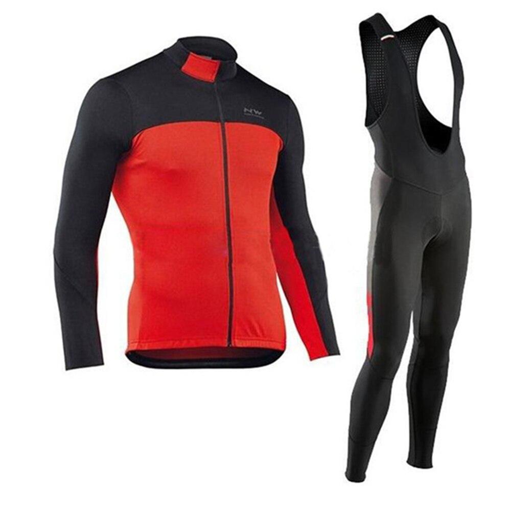 2018 Autumn Cycling Jersey Mens Long Sleeve Riding Suit Bicycle Cycling Clothing Bike Shirt Maillot Ropa Ciclismo Bib Pants
