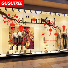Decorate china new year art wall sticker decoration Decals mural painting Removable Decor Wallpaper LF-1771