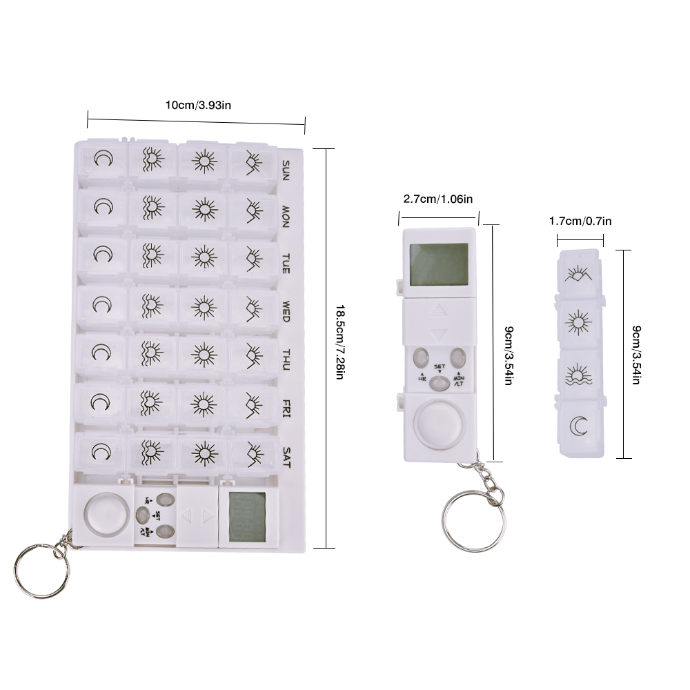 28 Grids Weekly 7 Days Pill Organizer Box With LED Timer Reminder Alarm Clock 4