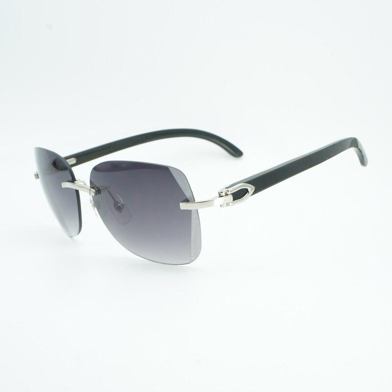 Vintage noir Mix blanc corne de buffle surdimensionné lunettes de soleil hommes diamant coupe lentille en bois nuances sans monture Glasse pour extérieur Gafas