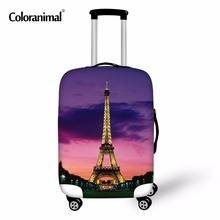 Купить с кэшбэком Coloranimal Eiffel Tower Thick Elastic Luggage Protective Cover Zipper Suit For 18-30 inch Trunk Case Travel Suitcase Covers Bag