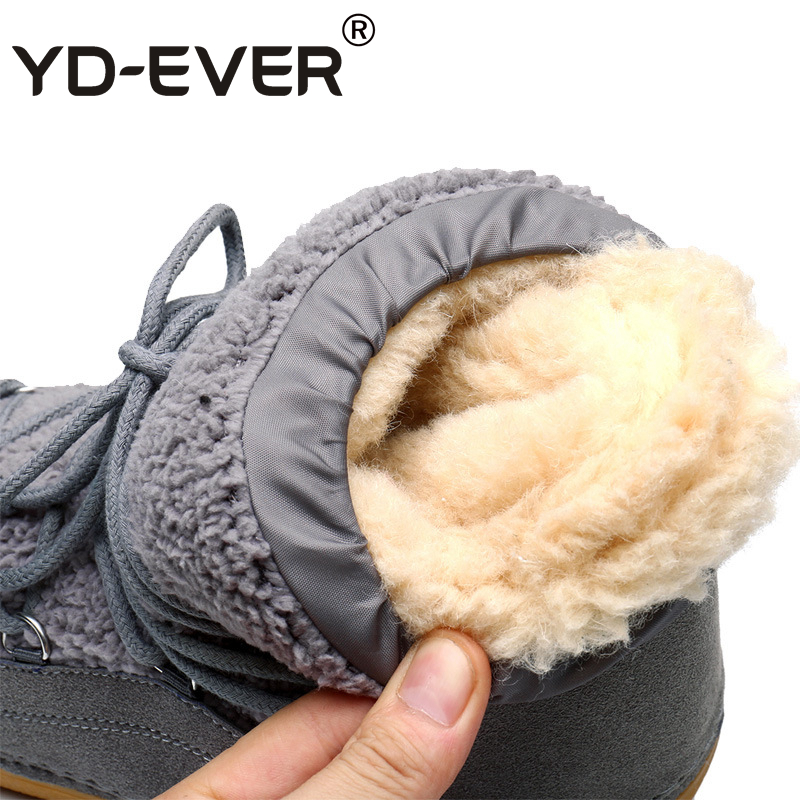 Knöchel Winter Schnee Frauen Plüsch Marke Yd ever Wolle Echten Stiefel Grey 658 Warme Pelz Schuhe brown Damen Mode fR8q0I0w