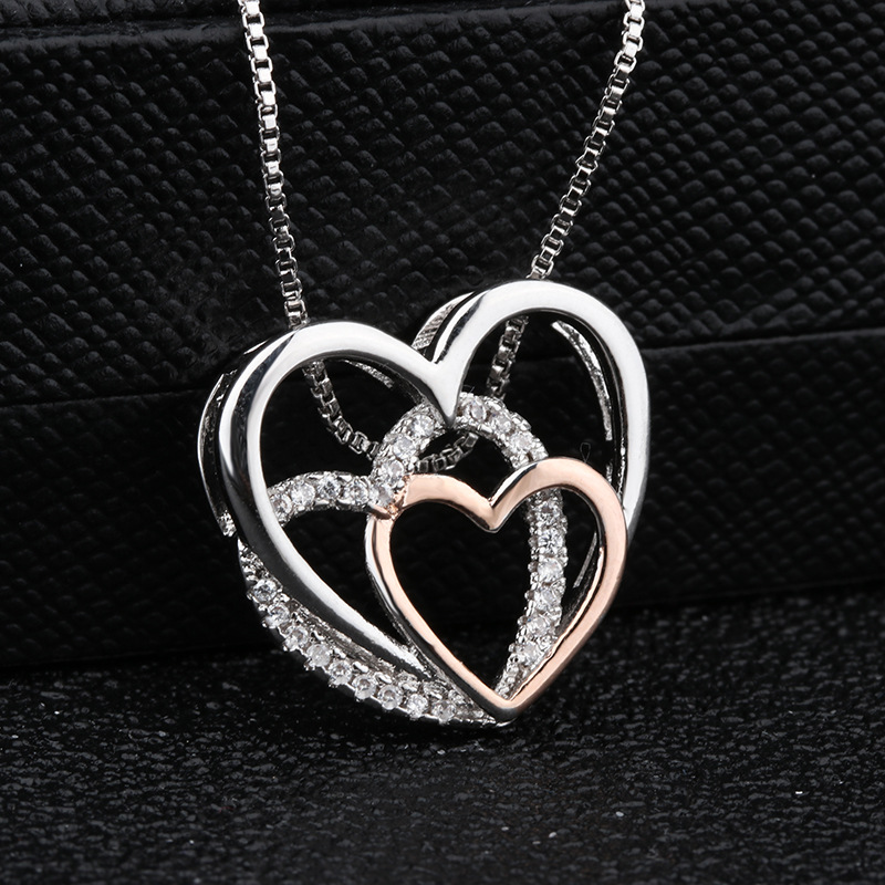Heart Crystal Necklaces Statement Chain Necklace Woman valentines Gift 1